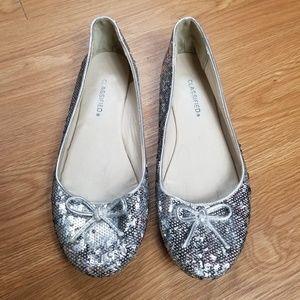 Classified Silver Sequin Metalic Ballet Flats